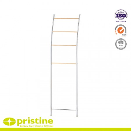 Bamboo Towel Ladder with 5 Rings - Towel Storage Ladder