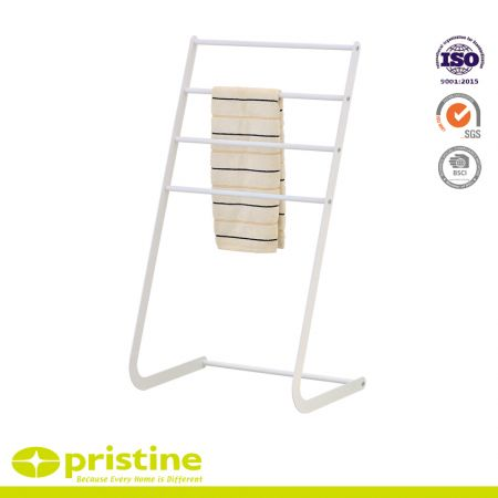 Freestanding Metal Towel Rack, 4 Tier Laundry Drying Stand - 4-bar towel rack with bottom shelf