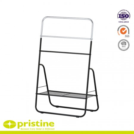 Modern Design Towel Stand - 3-Bar Towel Rack with Bottom Shelf
