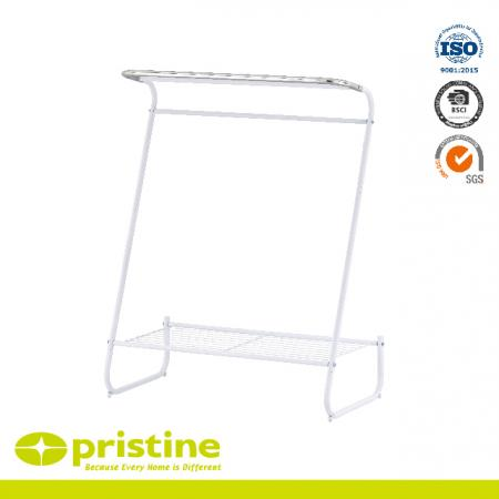 Curve Design Towel Stand With Wire Shelf - Freestanding 3 Bar Chrome Towel Rack