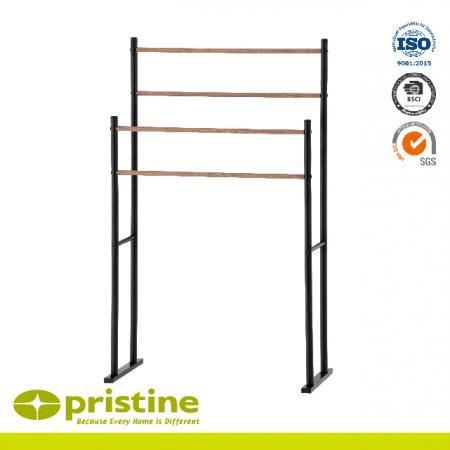 Freestanding 4 Rails Towel Stand With Wood Grain - Towel Stand
