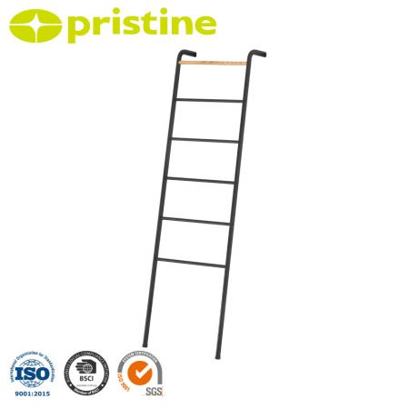 Free Standing Towel Bar Storage Ladder - No drilling or mounting into walls is necessary.