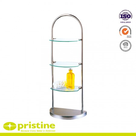3-Tier Glass Stand - 3-Tier chrome finish rack with glass shelves
