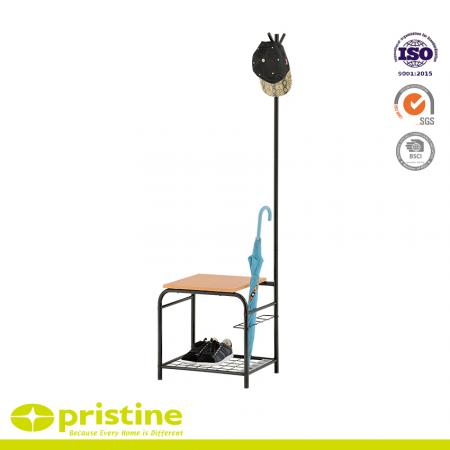 Hallway Metal Shoe Bench with Umbrella Holder and coat rack