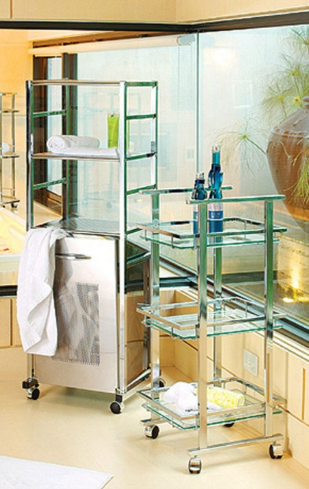 Bathroom Carts - The utility storage cart with 3 glass shelf is constructed of the sturdy chrome plated steel with strength and durability