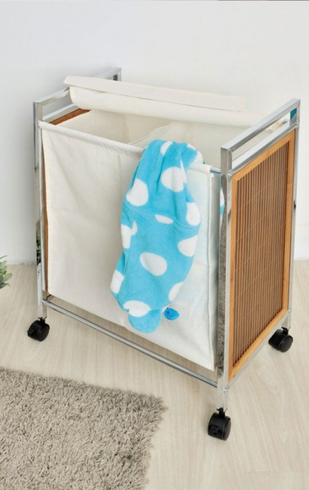 Double Laundry Sorter - The basic laundry hampers with a chrome finish frame is ideal to help you sort different types, the color of clothes with our 2 removable poly-cotton bags