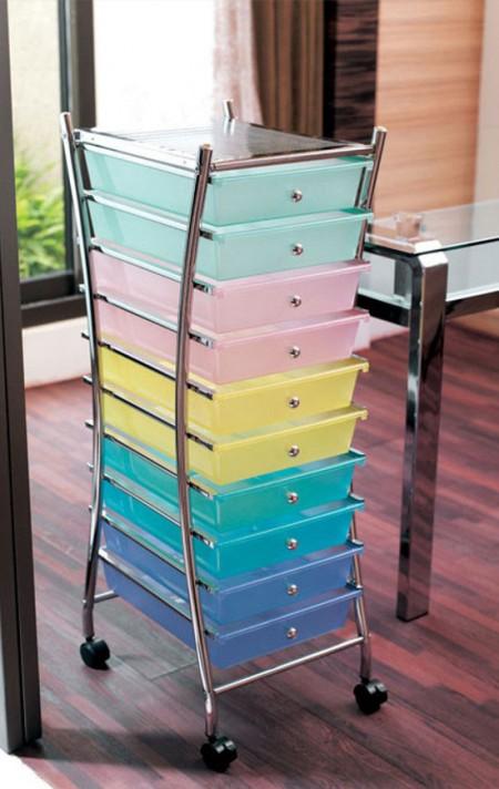 Chariots à tiroirs - Construction robuste avec cadre en métal chromé brillant avec 4 tiroirs coulissants en PP