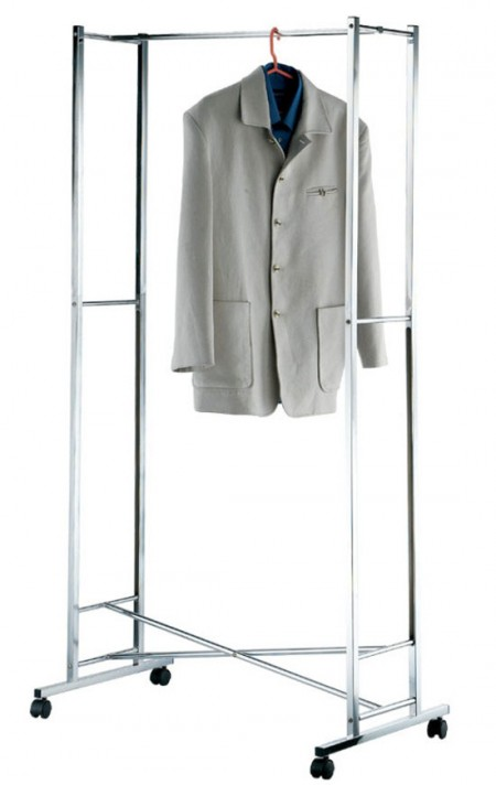 Foldable Garment Rack - Portable Double Rail Clothes Garment Rack