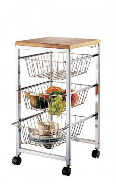 Fruit Basket Cart - The storage cart is with 3 tier big capacity design and well constructed