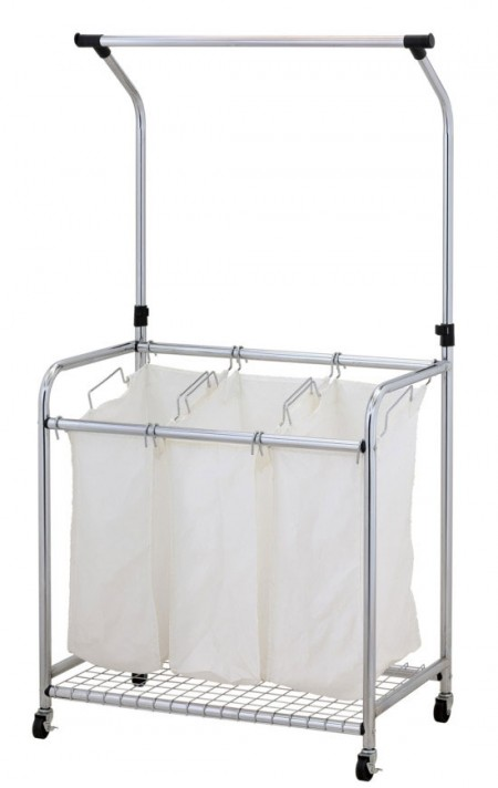 Laundry Sorter with Hanger Bar - Laundry sorter with hanger bar separates your fabrics, not only for darks and lights but also delicates and dry cleaning