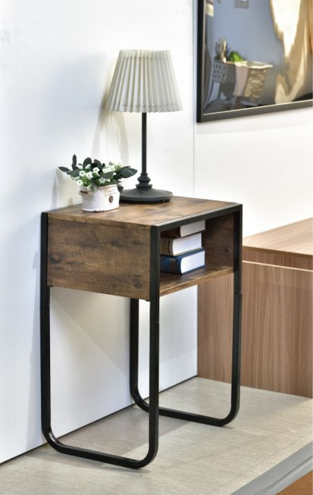Side Table - Round metal side end table with MDF top is easy to assemble and fits in small spaces