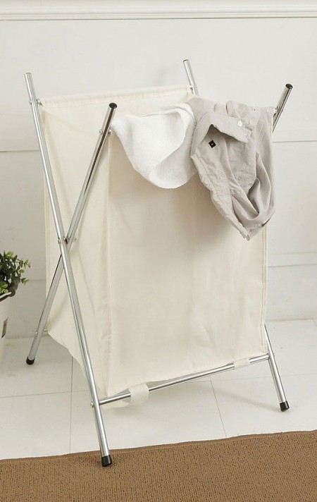 Laundry Hamper - A stylish laundry solution, this chrome folding hamper have one compartment to make sorting laundry a breeze
