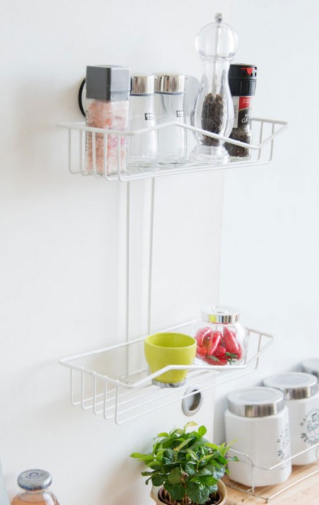 Suction Kitchen Storage Rack - Easy assembly, requires no tools for installation, strong suction cups support