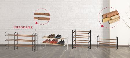 Expandable and stackable shoe rack - Sturdy metal construction with powder coating and faux wood grain.