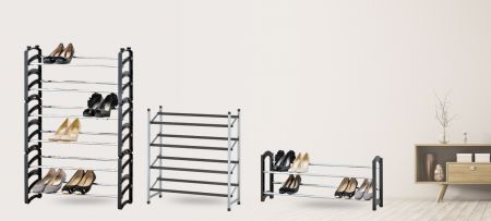 Frame adjustable shoe rack - both expandable and stackable for storing many pairs of shoes.