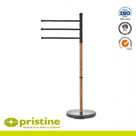3 Rails Towe Stand With Wood Grain - Metal Towel Bar Stand