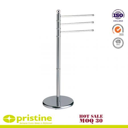 3 Rail Chrome Towel Stand - Standing towel rack with 3 rails