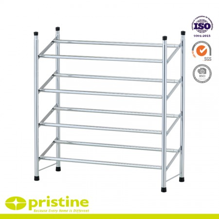4-Tier Chrome Extending Shoe Rack Storage Stand