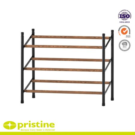 3-Tier Expandable and Stackable Shoe Rack with Faux Wood Grain - Simple, sturdyand modern design that blends seamlessly into your arrangement