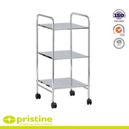 3-Tier Metal Shelf Trolley - 3-Shelf utility service cart