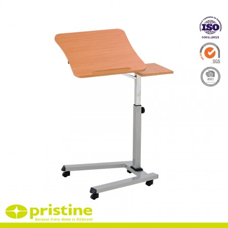 Height-Adjustable Office Desk Rolling Laptop Desk Cart - H-style base with 4 swivel casters provides stability and allows table to be easily moved