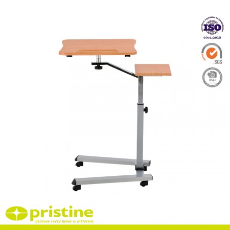 Height adjustable mobile laptop stand desk rolling cart