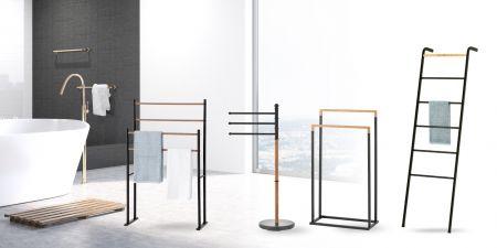 Floor standing towel rack stand - aesthetic, functional, invites visual appeal.