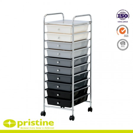10-Drawer Rolling Storage Cart - Sturdy construction with bright chrome plated metal frame with 10 sliding PP drawers