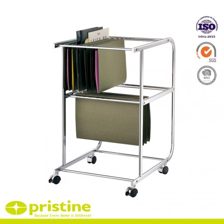 2-Tier Metal Rolling File Cart for Letter Size and Legal Size Folder