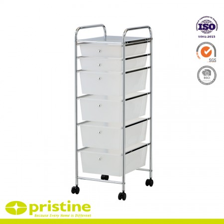 6-Drawer Rolling Storage Cart - Sturdy construction with bright chrome plated metal frame with 6 sliding PP drawers