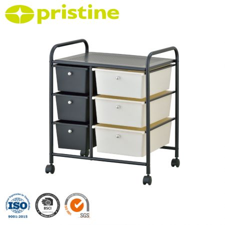 6 Plastic Drawer Rolling Organizer Cart