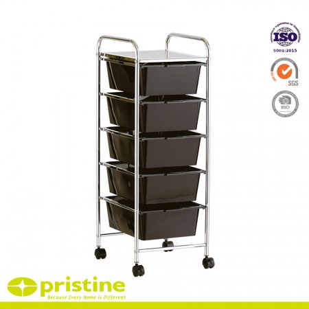 5-Drawer Rolling Storage Cart - Stylish design fits into any home decoration; a top metal shelf for additional work space