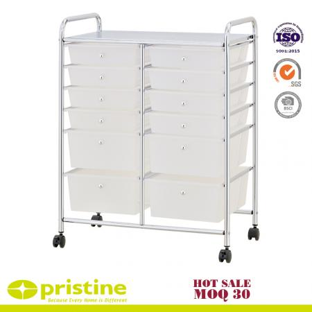 Rolling Storage Cart and Organizer with 12 Plastic Drawers - Double storage cart with 12 drawers