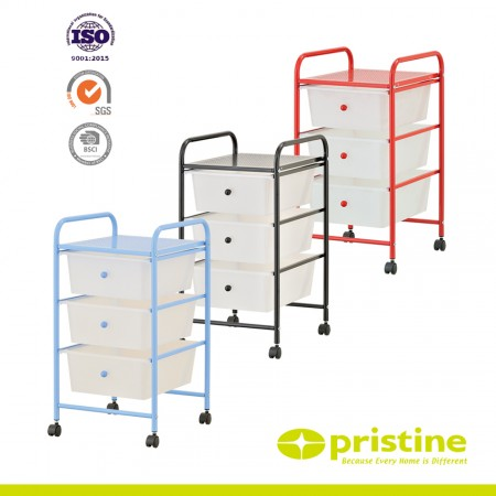 3-drawer plastic storage cart on wheels