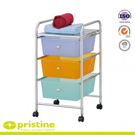 Plastic drawer storage unit with steel chrome-plated design