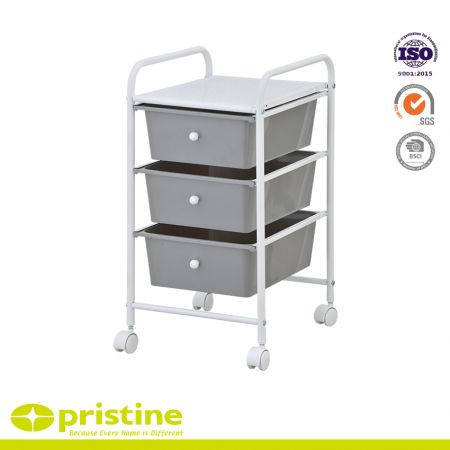3 Drawer Trolley - Sturdy construction with bright chrome plated metal frame with 3 sliding PP drawers.