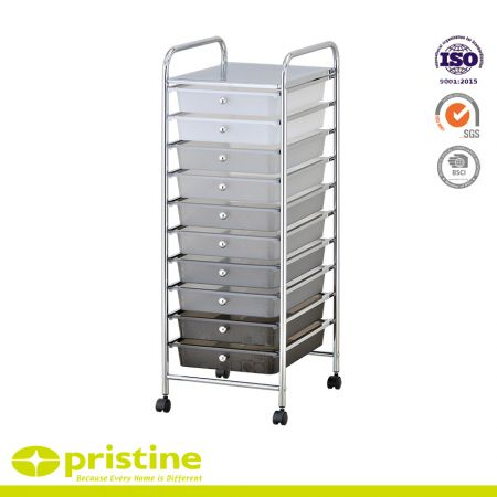 10 Drawer Rolling Storage Organizer Cart - Sturdy construction with bright chrome plated metal frame with 10 sliding PP drawers