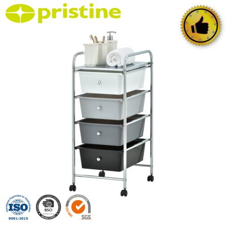 Rolling storage cart and organizer with 4 Plastic drawers