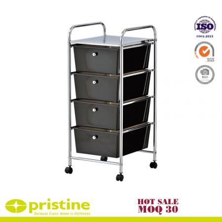 4-drawer storage bin organizer cart