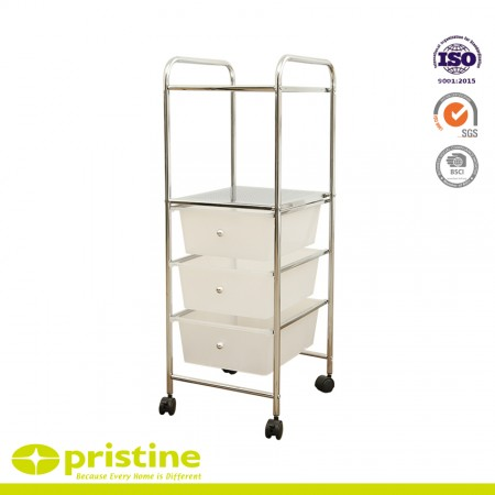 3 Plastic Drawer Trolley Cart