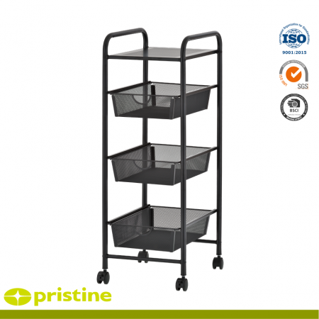 4 Tier Storage Mesh Cart - Metal storage cart