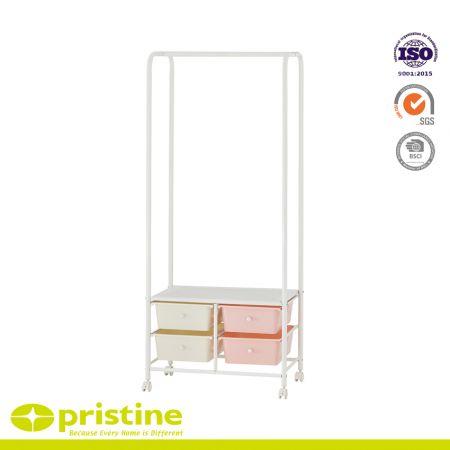 Rolling Garment Rack Single Bars w/ Drawers Shelf