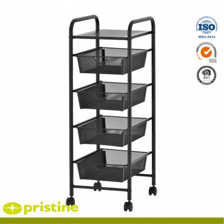 5 Tier Storage Mesh Cart - 5 shelf trolley cart