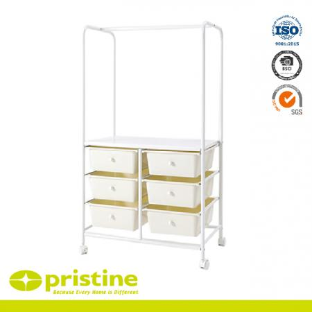 Rolling Garment Rack With 6 drawers - You can use the cart in different ways, including as an additional work area in the office or as different bedside tables in the bedroom