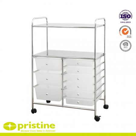 9 Plastic Drawer Trolley Cart