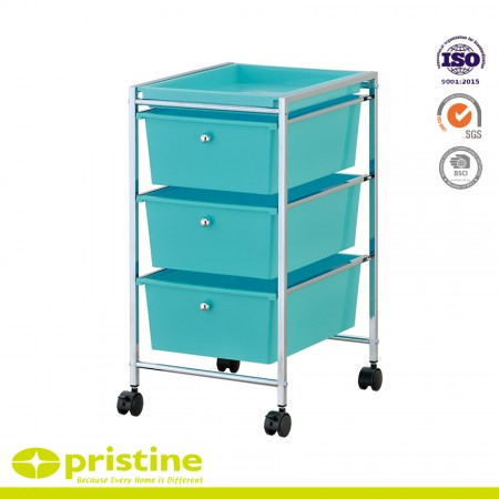 3 Plastic Drawer Rolling Trolley Cart