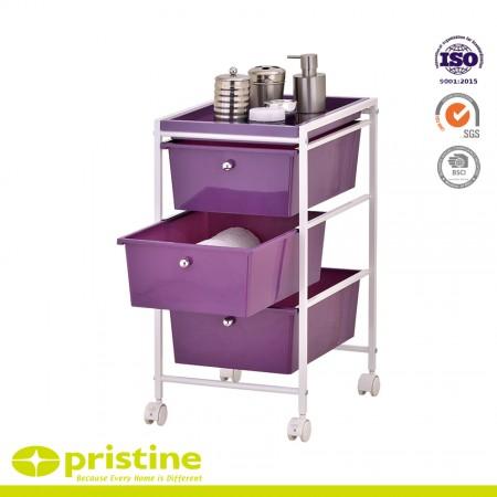 3 stylish colored- plastic sliding drawers