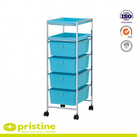 4 PP Drawer Cart with 2 PP Tray on The Top - Sturdy construction with bright chrome plated metal frame with 4 sliding PP drawers