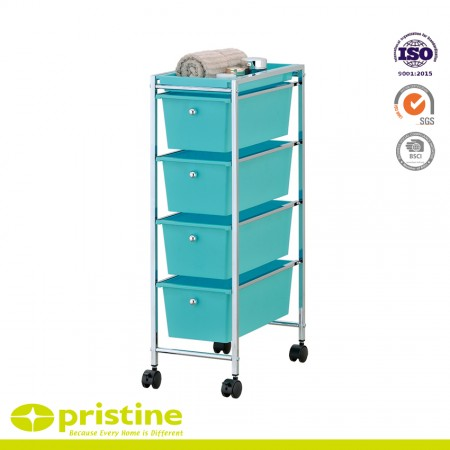 4 Plastic Drawer Rolling Trolley Cart