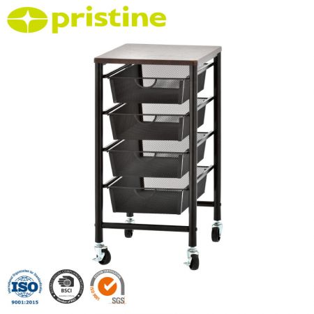 4-Mesh Drawer Trolley with 1-MDF Top Shelf